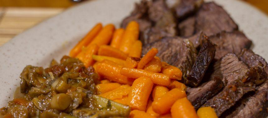 Roast beef with mushroom sauce